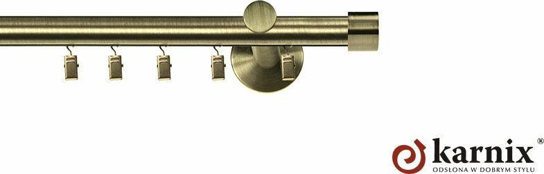 Karnix Karnisz aluminiowy ASPEN pojedynczy 16mm Luna antyk mosiądz