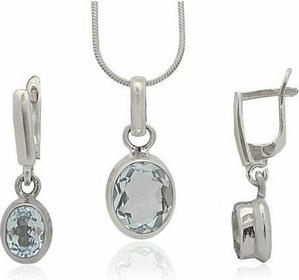 AnKa Biżuteria Komplet srebrny z niebieskim topazem - kamień szlachetny.