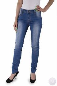 BS Damskie spodnie jeansy rurki z wyższym stanem niebieski