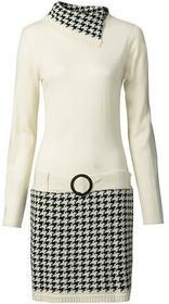 Bonprix Sukienka dzianinowa kremowo-czarny 926998