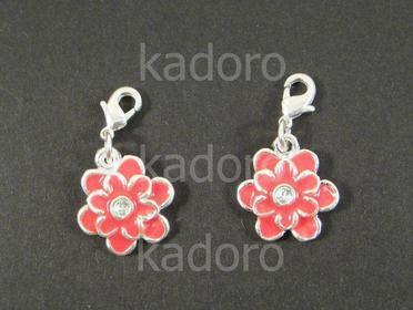 Zawieszka charm kwiatek czerwony - 1 sztuka