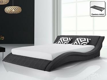 Beliani Nowoczesne łóżko Tapicerowane 180x200 cm w kolorze czarnym - ze stelazem