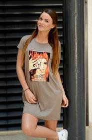 SakoLife tunika z naszytym nadrukiem Lana Del Rey capuccino