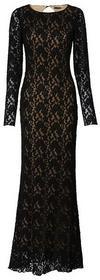 Bonprix długa sukienka koronkowa czarno-beżowy 926675