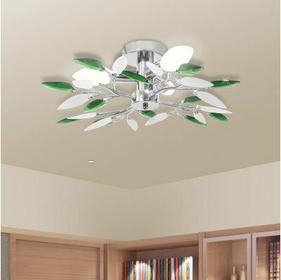Lampa sufitowa plafon, białe i zielone listki 3 żarówki E14