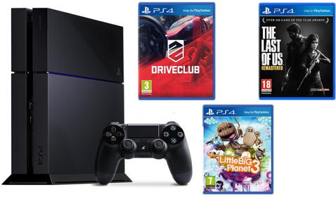 Sony  PlayStation 4 500GB Czarny + DriveClub + The Last of Us Remastered + Little Big Planet 3