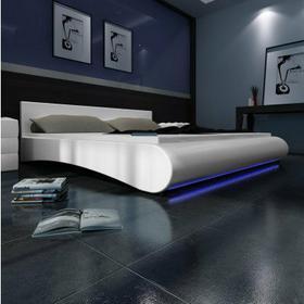 Łóżko ze sztucznej skóry 140x200 cm z paskiem LED (Białe)