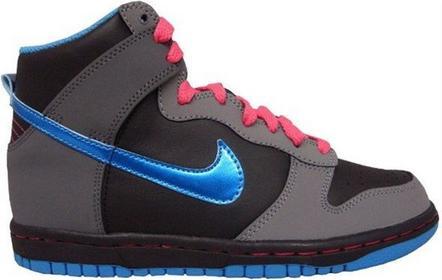 Nike buty dla dzieci - DUNK HIGH (GS) BLACK/VIBRANT BLUE-CL GRY-SPRK (001)