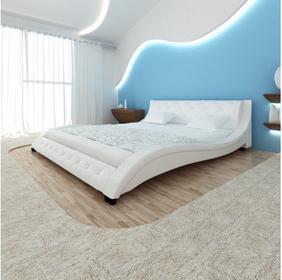 Skórzana rama łóżka (140x200 cm), biała, fala