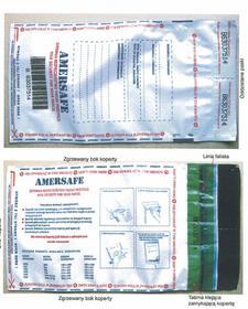 AMERSAFE Koperta K-70 bezpieczna bankowa szara folia / czarny poddruk K-70 50 sz