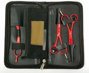 Fox Color Red Zestaw czerwonych nożyczek, degażówek i rezora - Zestaw czerwonych