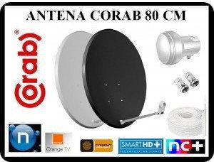 CORAB ANTENA 80 CM + SINGIEL 0,1dB + KABEL + 2 x F