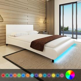 vidaXL Rama ka 140 x 200 cm Biaa Sztuczna Skra + Pas LED