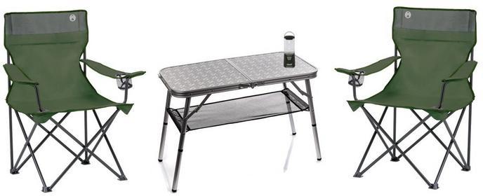 Coleman Zestaw campingowy stolik + 2 fotele + lampa 55604-uniw