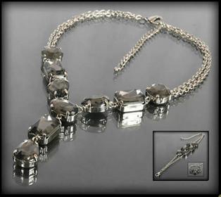Grafitowy zestaw biżuterii z kryształami: naszyjnik i bransoletka 407