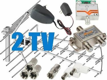 Zestaw antenowy dla 2 TV: TRI-DIGIT PLATINUM + wzmacniacz LNA-177 + zasilacz ant