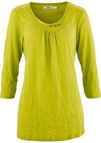 Bonprix Shirt z kreszowanego materiału, rękawy 3/4 pistacjowy 925594