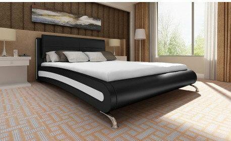 Łóżko ze sztucznej skóry 140x200 cm Czarne