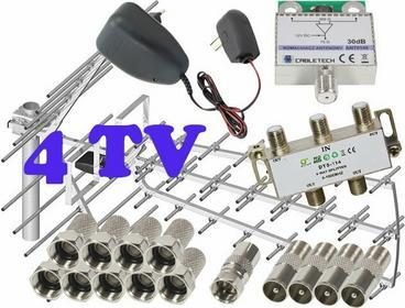 Zestaw antenowy dla 4 TV: TRI-DIGIT PLATINUM + wzmacniacz + zasilacz antenowy +