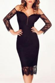 noshame Czarna sukienka midi odkryte ramiona z zamkiem 60845
