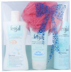 Fenjal Sensitive Shower Cream Kit 1403 W Kosmetyki Zestaw kosmetyków 200ml Krem pod prysznic Sensitive + 75ml Krem do rąk Sensitive + 150ml Deodorant Sensitive + 1szt Gąbka