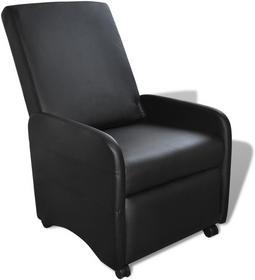 vidaXL Rozkładany fotel z czarnej, sztucznej skóry