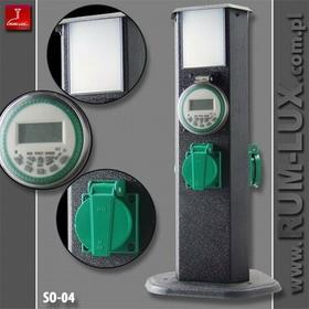 SŁUPEK OGRODOWY SO-04 4 GNIAZDA 2P+Z 230V IP44 LAMPA OŚWIETLENIOWA, ZEGAR STERUJ