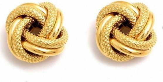 AnKa Biżuteria Kolczyki Supełki - srebrne pozłacane kolczyki wkręki