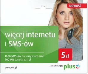 Plus 5 zł - taryfa Więcej internetu i SMS-ów