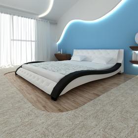 vidaXL Skórzana rama łóżka (140 x 200 cm), biała z czarnymi elementami, fala