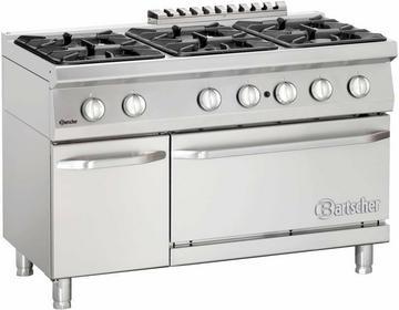 Bartscher 6-palnikowa Kuchnia gazowa z piekarnikiem gazowym GN 2/1 BT2852361