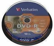 Verbatim Dysk DVD-R 16x 10cake LightScribe 43643