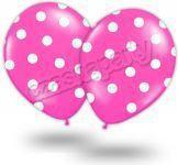 balon kropki grochy róż/biel 14 1 szt.