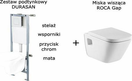 Roca Zestaw DURASAN stelaż podtynkowy wc z przyciskiem CHROM miska wc GAP z desk