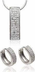 AnKa Biżuteria Komplet biżuterii srebrnej rodowanej z cyrkoniami osadzanymi meto