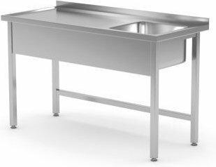 Polgast Stół nierdzewny ze zlewem bez półki 700x700x850 (h) 211077