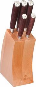 Gerlach Sztućce 991 - komplet Zestaw noży kutych 5 szt. w bloku, drewno pakka