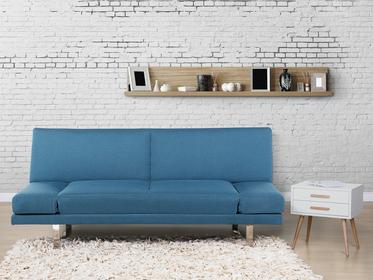Beliani Sofa z funkcja spania morska - kanapa rozkladana - wersalka - YORK niebieski