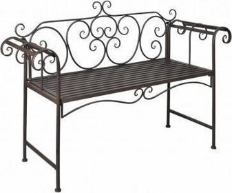 Metalowa ławka, z różanym wzorem, brąz.