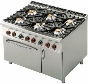 RM Gastro Kuchnia gazowa z piekarnikiem gazowym GN 2/1 i szafką CF6 - 912 GV
