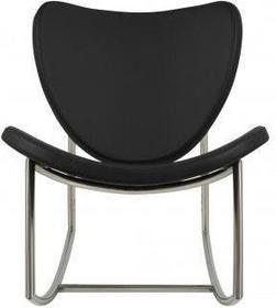 Homelike Trendy Fotel bujany pokryty czarną skórą ekologiczną 0000053139