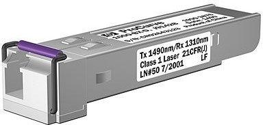 HP A small form-factor pluggable (SFP) Gigabit-BX downstream transceiver, for a full-duplex