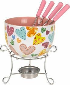 Excellent Houseware EH Ceramiczny zestaw do czekoladowego fondue dla 4 osób - ró