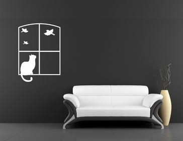 Naklej-to.pl Kot w oknie i ptaki naklejka kot04