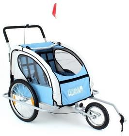 Przyczepka rowerowa 2-osobowa + jogger 2w1 All4Baby - niebiesko-szary