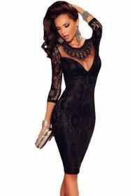 noshame Sukienka koronkowa czarna z rękawkiem 3/4 S 60856S