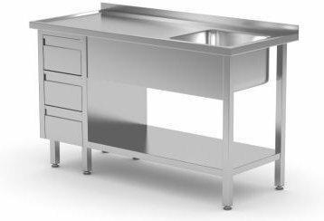 Polgast Stół nierdzewny ze zlewem, półką i szafką z trzema szufladami 1300x600x8