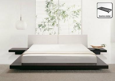 Beliani Luksusowe łóżko drewno-skóra 180x200 cm stoliki nocne ZEN brazowy