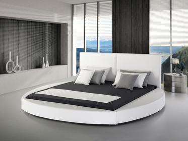 Beliani Nowoczesne łóżko skórzane biale - 180x200cm - ze stelazem - LAVAL bialy