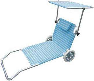Siesta Design Leżak plażowy z kółkami niebieski